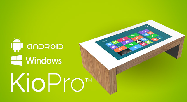 KioPro, the multi-touch interactive coffee table using Microsoft Windows 8 or Android