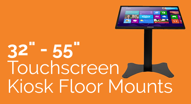 32″ to 55″ touchscreen kiosk on a floor standing mount to suit your needs