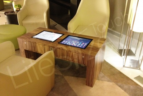 KioPro Dual touchscreen table, for multi-user touchtable interaction. Great for receptions, waiting areas, exhibitions.